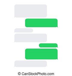 kurz, service, set., sms, vektor, leere nachricht, blasen