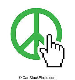 kurzor, világ béke, zöld, aláír