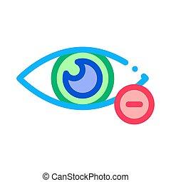 kurzsichtigkeit, auge, linie, vektor, diopter, vision,...