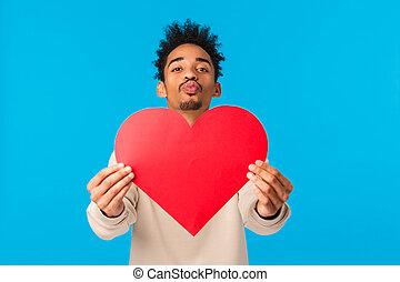 kus, blauwe , kerel, amerikaan, afro, lippen, muur, valentines, verhouding, hart, liefde, valentijn, groot, kapsel, soulmate, concept., grondig, geven, boyfriend, afrikaan, dag, het vouwen, kaart, bekennen, schattig