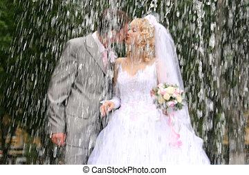 kus, trouwfeest