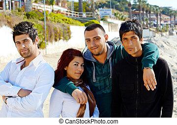 kusadasi, praia, amigos, turco