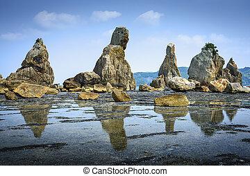 Kushimoto, Wakayama Prefecture, Japan. coastline at Hashi-gui-iwa rocks.