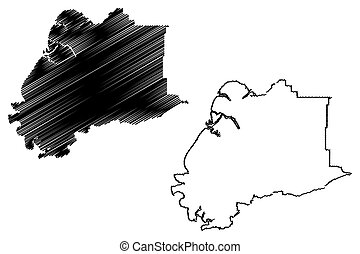 Kusilvak Census Area, Alaska (Boroughs and census areas in Alaska, United States of America, USA, U.S., US) map vector illustration, scribble sketch Wade Hampton map