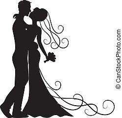 kussende , bruidegom, en, bruid
