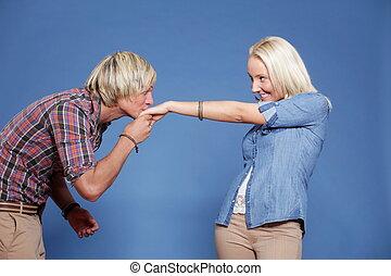 kussende , hand., van een vrouw, man