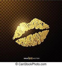kussende , lippen, goud