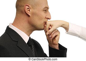 kussende , man, hand