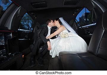 kussende , paar, anderen, trouwfeest, elke