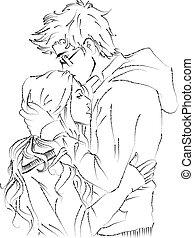 kussende , paar, romantische, jonge