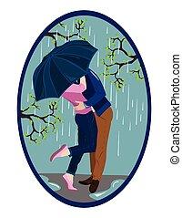 kussende , paar, romantische, regen