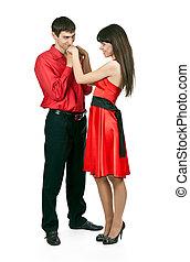 kussende , van een vrouw, man, hand