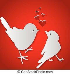 kussende , vogels, dag, valentine