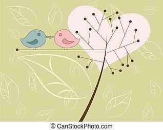 kussende , vogels