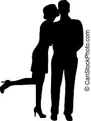 kussende , vrouw, silhouette, man