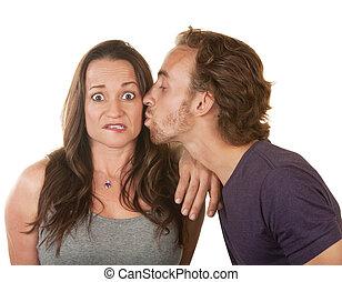 kussende , vrouw, verwonderd, man