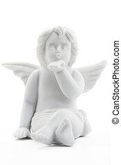 kussende , witte kerst, engel, figurine, op wit, achtergrond