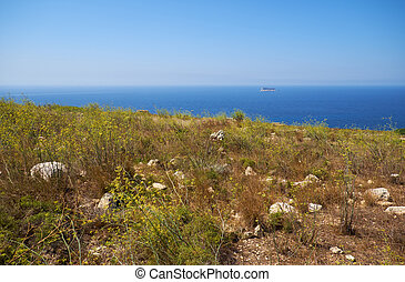 kust, achtergrond., eilandje, qrendi, filfla, aanzicht