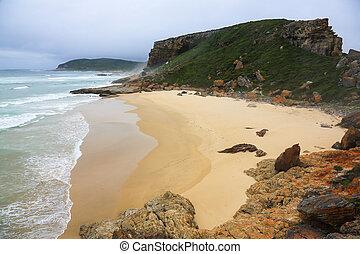 kust, afrikaan, pristine, strand, zuiden, reserveren