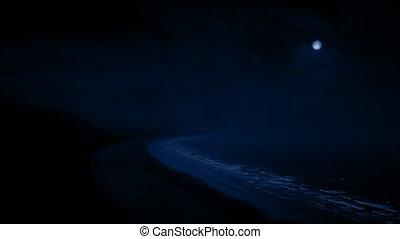 kust, gebied, op de avond, met, maan