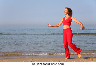 kust, kvinna, ung, hav