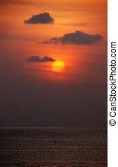 kust, ondergaande zon