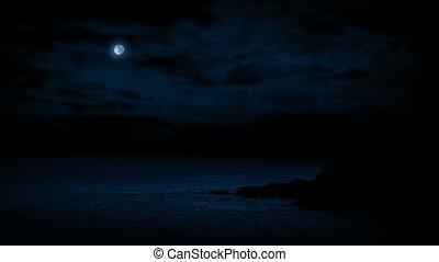 kust, rotsen, op, moonlit, nacht
