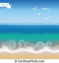 kust, synhåll, vektor, bakgrund