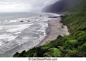 kust västerut, strand, nya zeeland