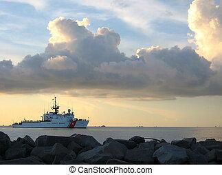 kustbevakning, kutter, hos, solnedgång