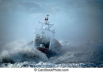kustbevakning, under, oväder