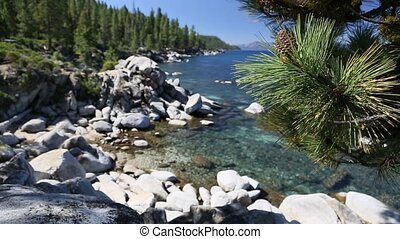 kustlijn, meer tahoe, mooi