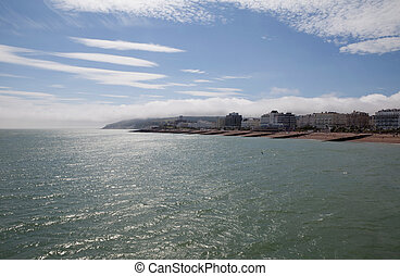 kustlinje, ferieresort, england, eastbourne
