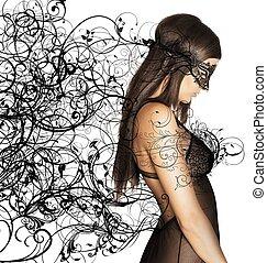 kuszący, maska, kobieta