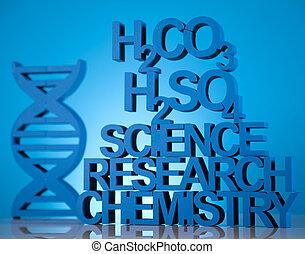 kutatás, és, kísérlet, kémia