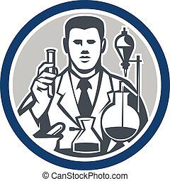 kutató, labor, természettudós, retro, karika, vegyész