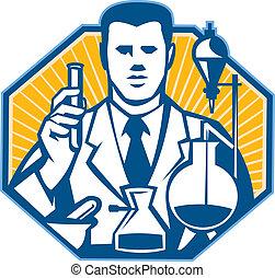 kutató, természettudós, labor, vegyész, retro