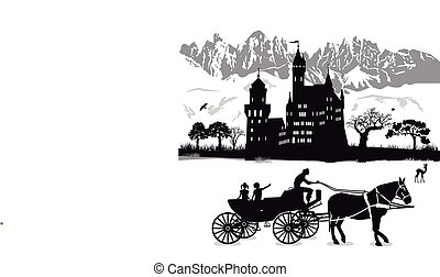 Kutsche Burg.eps - Castle with children and carriage