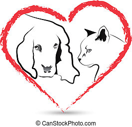kutya, és, macska, alatt, egy, szív alakzat, jel