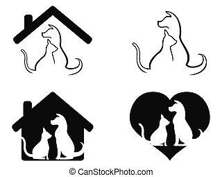 kutya, és, macska, kedvenc, törődik, jelkép