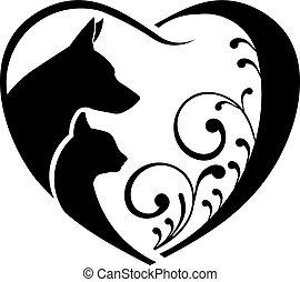kutya, és, macska, szeret, heart., vektor, grafikus