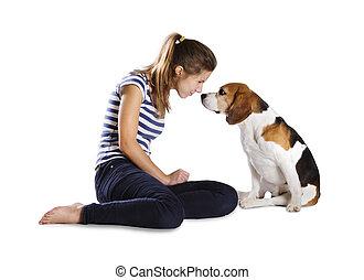 kutya, és, nő, alatt, műterem