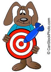 kutya, céltábla, birtok, karikatúra