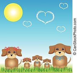 kutya, család, ül fű, noha, a, nap