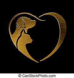 kutya, macska, szeret szív, arany, jel
