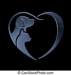 kutya, macska, szeret szív, ezüst, jel