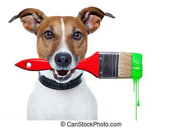 kutya, mint, egy, szobafestő, noha, egy, ecset, és, szín