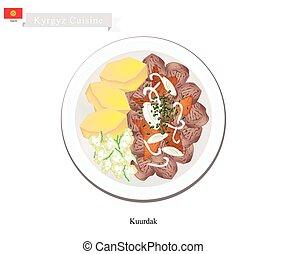 Kuurdak or Kyrgyz Stewed Brown Meat with Onion