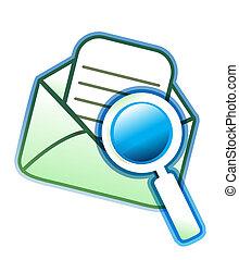kuvert, email, och, förstoringsglas