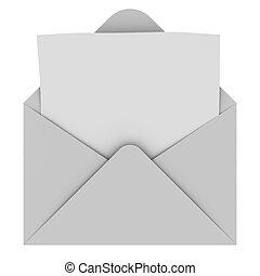 kuvert, med, tom, brev